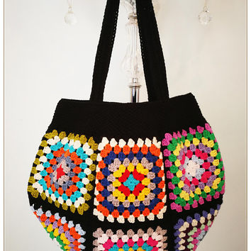 Crochet Bag, Crochet Beach Bag, Retro Bag,Granny Square Bag, Boho Style, Crohcet Shoulder Bag, Summer Bag, Gift for Her