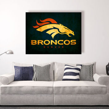 Denver Broncos vintage style Canvas Print, Wall Art, Wall Decor, Vintage, Grunge