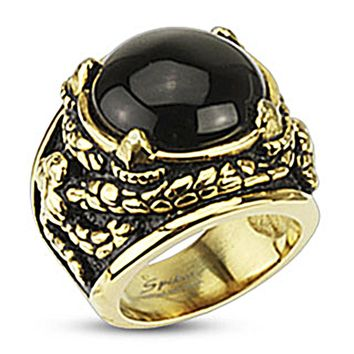 Spikes Stainless Steel Gold IP Dragon Claw Onyx Stone Biker Ring
