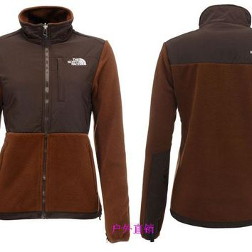 THE North Face New winter women plus velvet jacket to keep warm purple/ brown