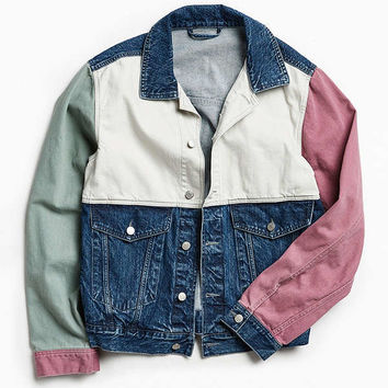 BDG Customized Colorblocked Denim Trucker Jacket | Urban Outfitters