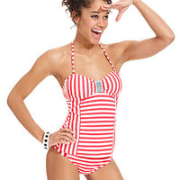 Hobie Swimsuit, Bandeau Striped Tankini Top & Striped Hipster Brief Bottom - Womens Swimwear - Macy's