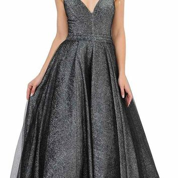 Black/Silver Prom Ball Gown Criss-Cross Back V-Neck