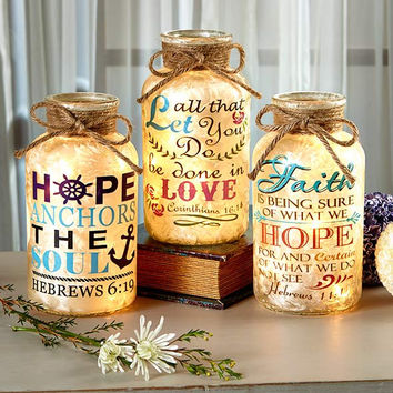 Lighted Scripture Glass Jar Bible Verse Decorative Font Artwork Illuminate Glow