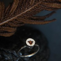 Orange topaz ring, sterling silver ring, minimalist ring, brown topaz ring, dainty ring, unusual engagement ring, unique ring size 7