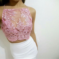 baby pink applique lace sequin embelished mesh netted crop top bra bralette lingerie strappy camisole vest boob tube co ord bodycon skirt