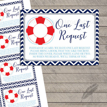 Nautical Baby Shower Book Request Cards