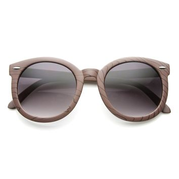 Oversized Large Retro Fashion Faux Wooden Sunglasses
