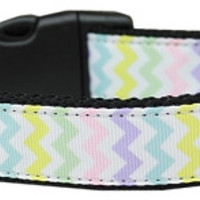 Spring Chevron Nylon Dog Collar Medium