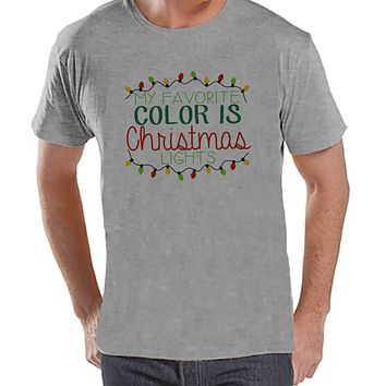 Favorite Color Is Christmas - Funny Holiday Tee - Men's Christmas T-Shirt - Men's Grey T Shirt - Holiday Shirt - Holiday Gift Idea