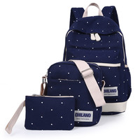 3Pcs/Sets Korean Casual Women Backpacks Canvas Book Bags Preppy Style School Back Bags for Teenage Girls Composite Bag Navy Blue