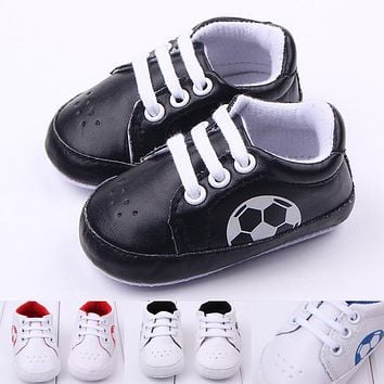 Anti-slip Soft Sole Football Sport Sneakers 3-18M Soccer Baby Boy Girls Crib Shoes Kid Leather Lace-Up Infant Boots Bebe Booties