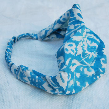 Indian Cotton Fabric White Blue Head Bands Hand Print Free Size Head Bands for Cute Gift For Her Loving Present Teenage Cotton Head Scarves