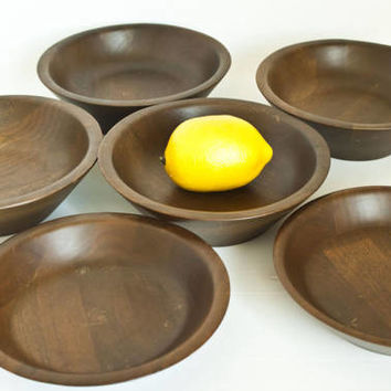 Vintage Set of 6 Lebanon Supply Co Solid Walnut Bowls, Mid Century Carved Wood Serving Bowl Set