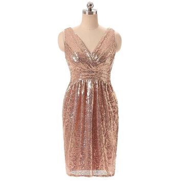 Ladies fashion shiny solid color rose gold straight dress ladies sequins V-neck sleeveless mini sexy dress*25