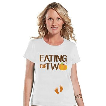 Custom Party Shop Womens Eating for Two Thanksgiving Pregnancy Announcement T-shirt