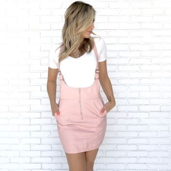 Tickled Pink Denim Skirt Overalls
