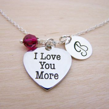 I Love You More Heart Charm Swarovski Birthstone Initial Personalized Sterling Silver Necklace / Gift for Her - Heart Necklace