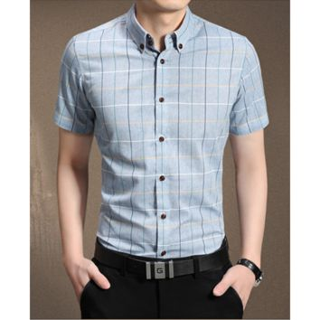 Men's Classic Plaid Casual Short-sleeved Business Dress Shirts