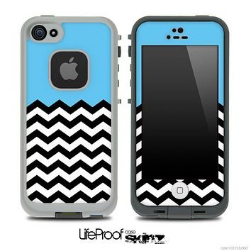 Solid Color Light Blue and Chevron Pattern Skin for the iPhone 5 or 4/4s LifeProof Case