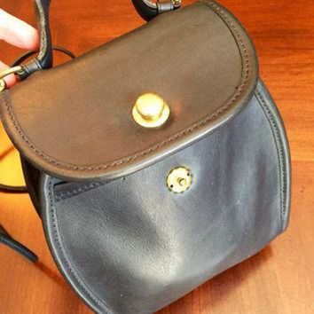 ONETOW Vintage Navy Blue Authentic Rare Coach Derby Crossbody Bag with Brass Button Closure,