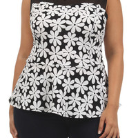 Flower Print Sheer Top - Black - Plus Size - 1x - 2x - 3x