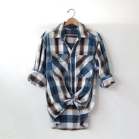 20% OFF SALE / Vintage Plaid Flannel / Grunge Shirt / Thick cotton button up shirt