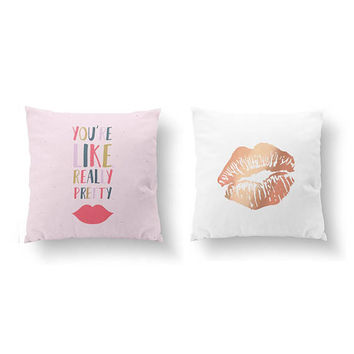 SET of 2 Pillows, Woman Lips Pillow, You're Like Really Pretty, Gold Pillow, Beauty Decor, Throw Pillow, Cushion, Gift For Her, Bed Pillow