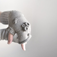 Fingerless gloves, okapi knitted handwarmers, 2013 fashion trend, Paris