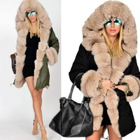 Winter Jacket Coat 2017 New Fashion Women Hooded Overcoat Faux Fur Cotton Fleece Thick Warm Female Parkas Hoodies Long Coat