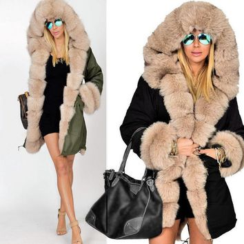 bd6116f3c02 Winter Jacket Coat 2017 New Fashion Women Hooded Overcoat Faux F