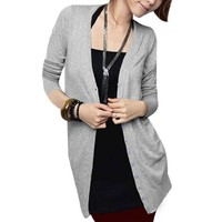 Allegra K Ladies Collarless Single Breasted Long Cardigan Gray XS