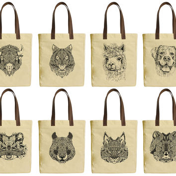 Women Animals Head Beige Print Canvas Tote Bags Leather Handles WAS_30