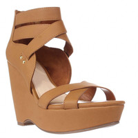 B35 Samara Strappy Wedge Sandals, Dark Tan, 7.5 US