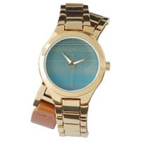 Teal Yellow Texture Line Abstract Watch