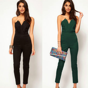 Women Autumn Winter strapless v-neck sleeveless jumpsuits Women Elegant Sexy Backless Jumpsuit Rompers Ladies Bodysuit Playsuit
