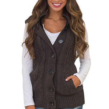 Chicloth Brown Cable Knit Hooded Sweater Vest