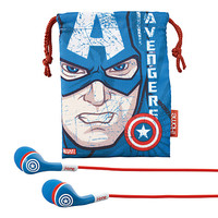 Captain America Noise Isolating Ear Buds with Pouch
