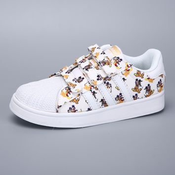 Adidas Superstar White Multi Velcro Toddler Kid Shoes - Best Deal Online