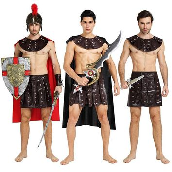 Adults Roman Greek Gladiator Warrior Princess Prince Roman Spartan Costume Party Cosplay Halloween Costumes Soldier Couple Dress