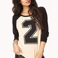 FOREVER 21 Athletic Baseball Sweatshirt Cream/Black Large