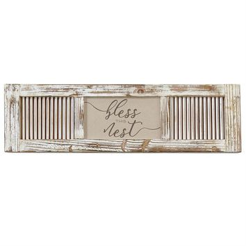 Bless This Nest Shutter Plaque by Mud Pie