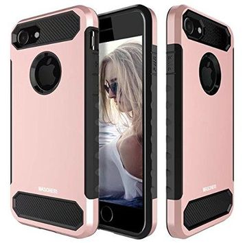 MASCHERI For iPhone 8 Case, iPhone 7 Case [Carbon Fiber Design] Shock Absorption Protective Dual Layer Military-Grade Defender Hybrid Case Cover for Apple iPhone 8 / iPhone 7 - Rose Gold