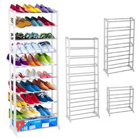 30 Pair Free Standing 10 Tiers Shoe Tower Rack Chrome Metal(Don't ship to Alaska,Hawaii& PR)