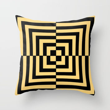 Graphic Geometric Pattern Minimal 2 Tone Illusion Squares (Golden Yellow & Black) Throw Pillow by AEJ Design