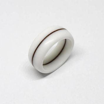 White corian ring with brown wood line from walnut root / Very durable / Hypoallergenic ring / Waterproof