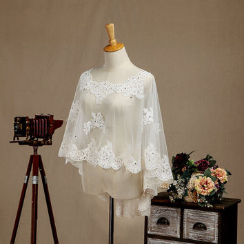 Popular Custom Made Ivory lace beading Wedding Bolero Jacket for Weddings 2017 fashion wedding accessories