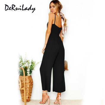 DERUILADY Sexy Camisole Jumpsuit Summer Women Ankle-Length Pants Bodysuits Solid Fashion Higt Waist Rompers Womens Jumpsuit