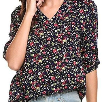 Happilina Womens Floral Printed V Neck High Low Hem Blouse Top