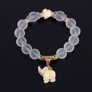 Crystal Elephant Bracelet With Transparent Beads